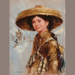 Lee Man Fong (1913-1988), Young Woman, oil on canvas, framed