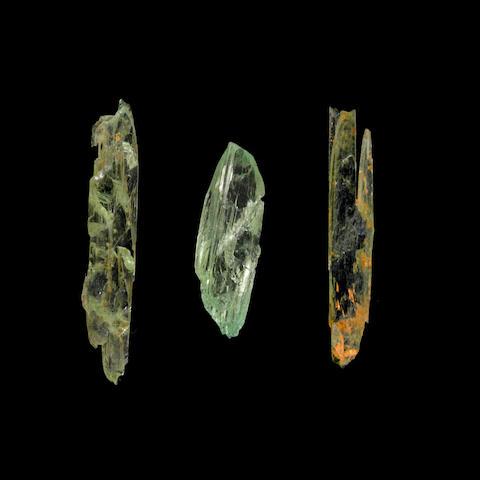 Three Green Spodumene Crystals, var. Hiddenite