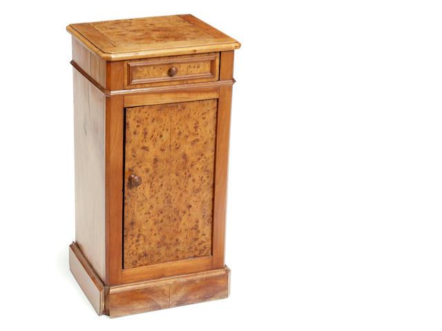 A Continental burl elm bedside cupboard