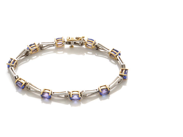 A tanzanite, diamond and 18k bicolor gold bracelet