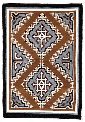 A Navajo Two Grey Hills tapestry rug