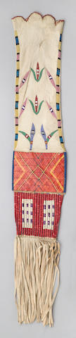 A rare and unusual Fort Berthold quilled tobacco bag