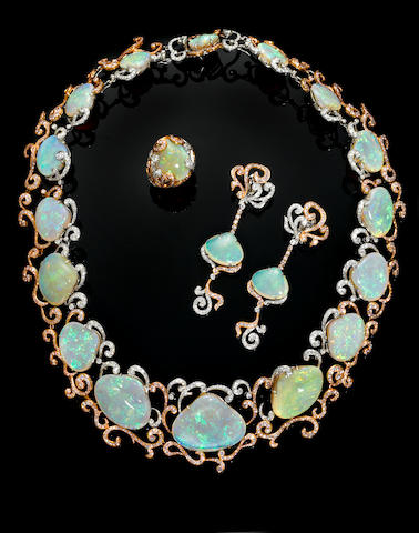 "Important Suite of Fossil Clam Shell Crystal Opal and Pink Diamond Jewel--""Memoirs of the Ocean"""