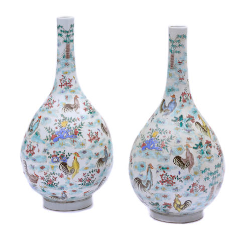 A pair of Chinese polychrome gooseneck vases
