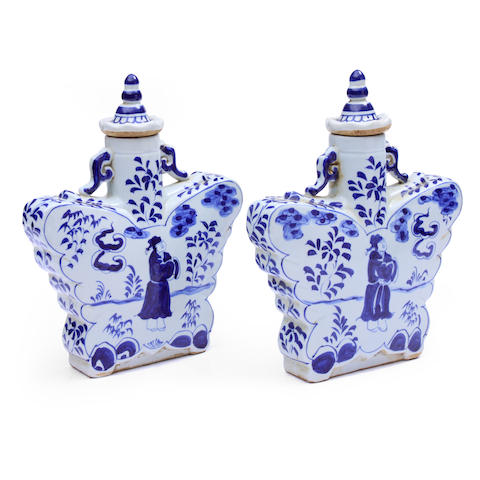 A pair of Chinese blue and white porcelain covered vases