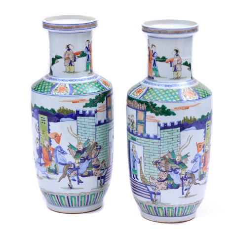 A pair of polychrome decorated vases