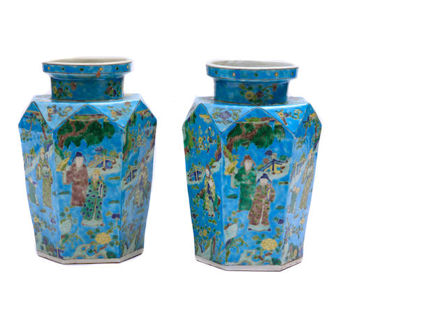 A pair of Chinese turquoise glazed vases