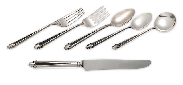A set of Navajo silver flatware for 12