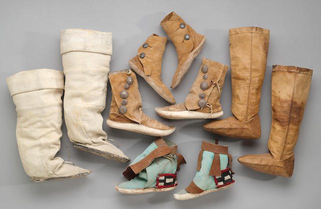 Five pairs of Native American footwear