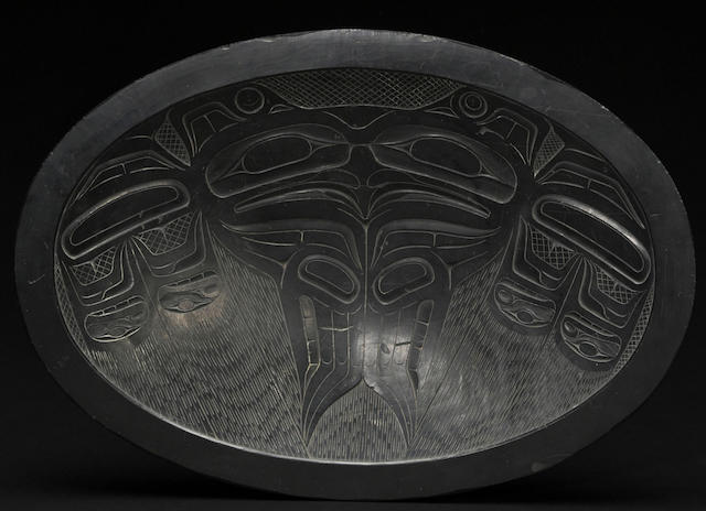 A Haida argillite oval plate