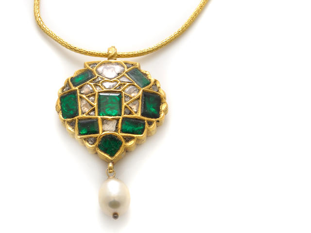 A cultured pearl, green stone, diamond and gold pendant-necklace