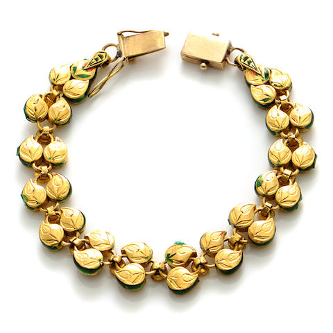 A diamond, enamel and gold-plated bracelet