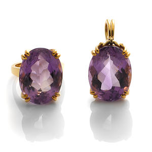 An amethyst and 18k gold ring and pendant