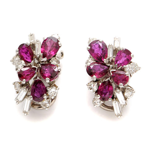 A pair of ruby and diamond cluster earclips