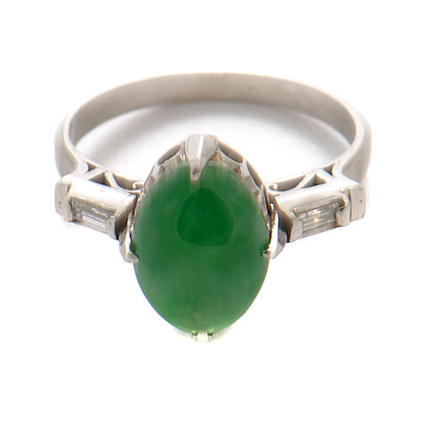 A jade, diamond and white gold ring
