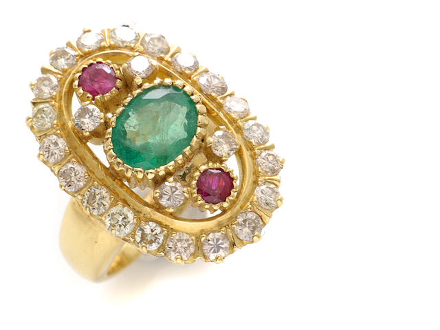 An emerald, ruby, diamond and gold ring