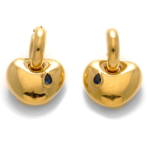 A pair of sapphire and gold heart motif earrings