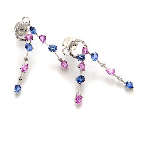 A pair of pink and blue sapphire, diamond and 18k white gold earrings