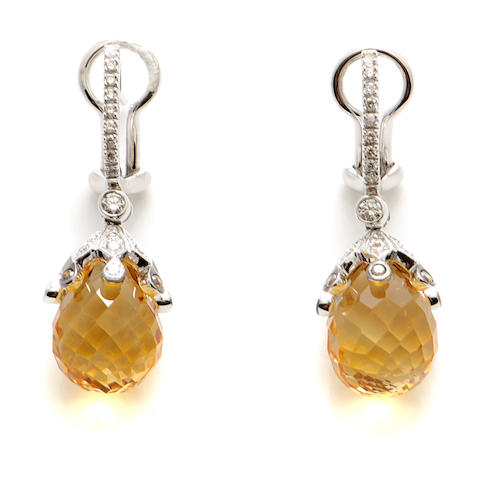 A pair of citrine, diamond and 18k white gold pendant earrings