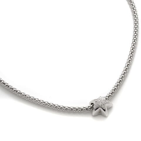 A diamond and 18k white gold star motif pendant-necklace