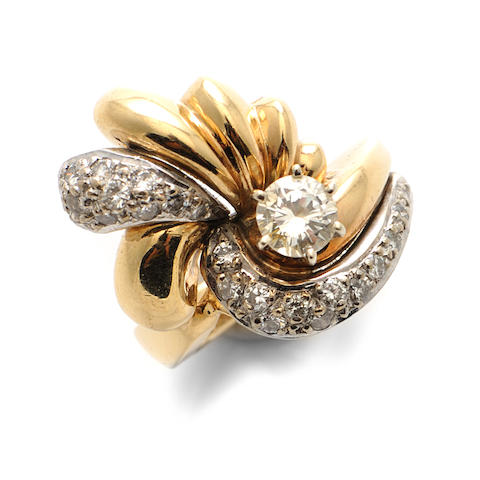 A diamond and 14k bicolor gold ring