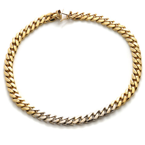 A diamond and 14k gold curb link necklace
