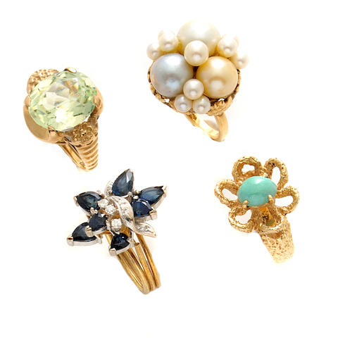 A group of six gem-set, cultured pearl and gold rings