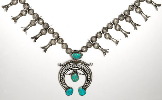 A Navajo squash blossom necklace