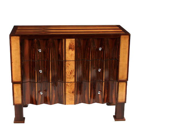 An Art Deco style mixed wood commode