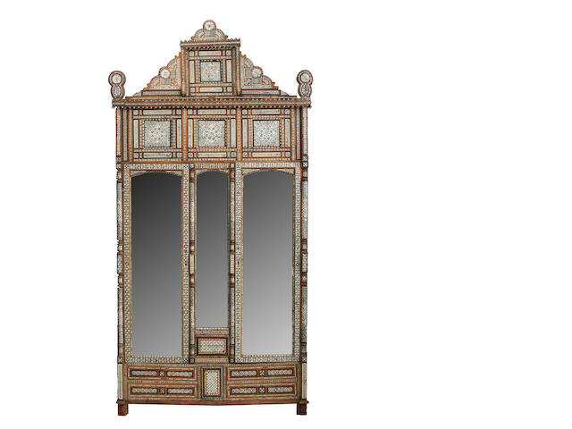 A large Syrian shell and bone inlaid armoire