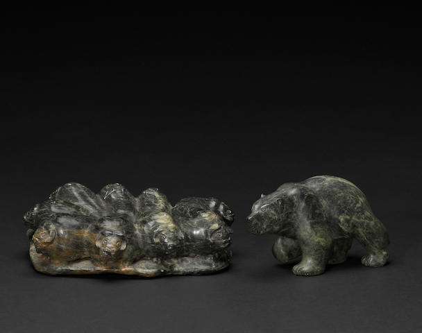 Two Jonasie Quarqortoq Faber stone sculptures