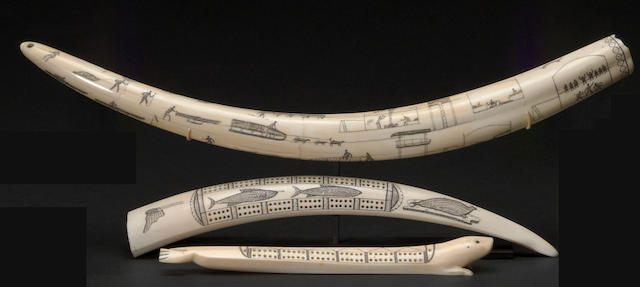 Three Eskimo scrimshaw items