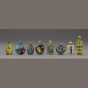 Eight cloisonne enamel snuff bottles