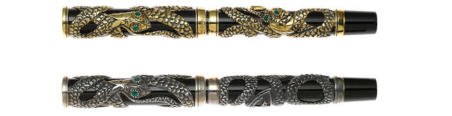 PARKER: Snake Set of 2 Limited Edition Fountain Pens: 18K Solid Gold & Sterling Silver