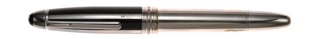 MONTBLANC: Meisterstuck Solitaire 146 Sterling Silver Fibre Guilloche Fountain Pen