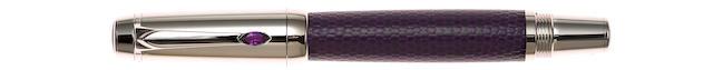 MONTBLANC: Boheme Doué Amethyst & Violet Leather Rollerball Pen
