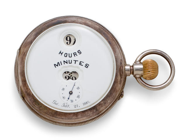 IWC. A rare silver open face Pallweber type III digital keyless lever watchNo. 14951, circa 1886