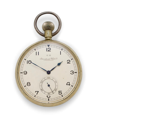 IWC. A nickel open face deck watchMovement no. 1030962, circa 1941