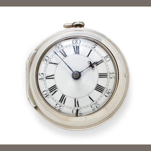 D. Robertson, London. A silver pair case verge watchNo. 482, case hallmarked 1763