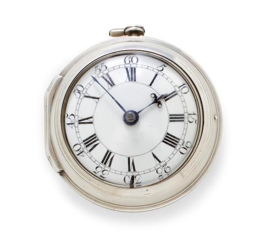 D. Robertson, London. A silver pair case verge watchNo. 482, case hallmarked 1763