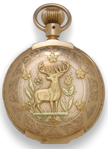 Elgin. A 14K multi colored gold box hinge hunter cased watchNo. 4129427, circa 1890