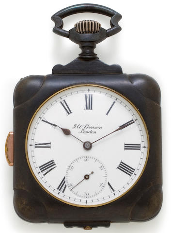 Swiss. A cushion form gunmetal quarter repeating watchRetailed by J. W. Benson, London, circa 1900