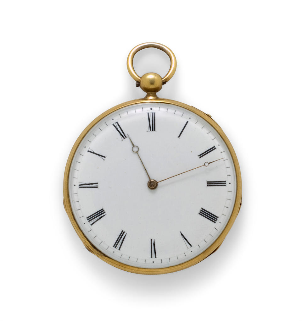 A. Boursot. A gold openface quarter repeating lever watchGeneva, second quarter of 19th century