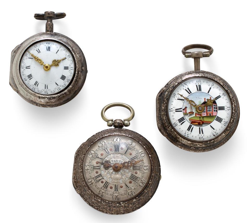 Three verge watchesmid 18th Century