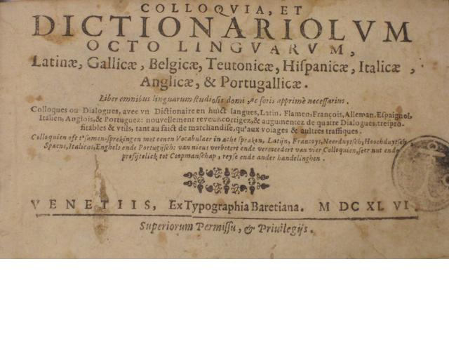 [BARLEMENT, NOEL VAN. d.1531.] Group of 4 polyglot travel dictionaries. Various places: 17th century, comprising:<BR />