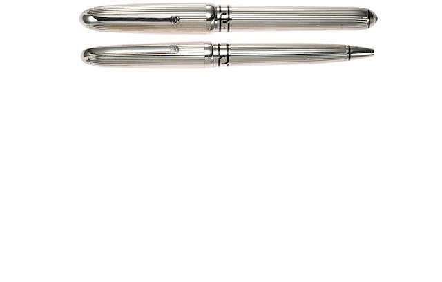 CARTIER: Silver Fountain Pen & Ballpoint Limited Edition Pair
