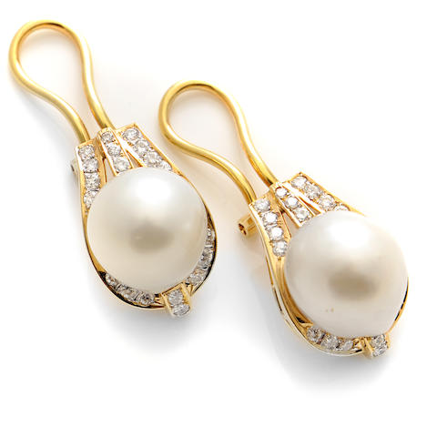 A pair of cultured pearl, diamond and 14k gold earrings