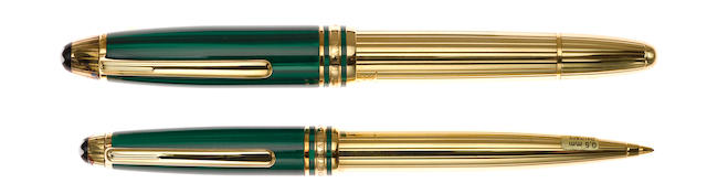 MONTBLANC: Czar Nikolai I Vermeil & Malachite Fountain Pen & Mechanical Pencil Lot