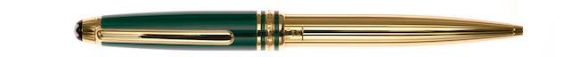 MONTBLANC: Meisterstuck Czar Nikolai I Malachite & Vermeil Ballpoint Pen