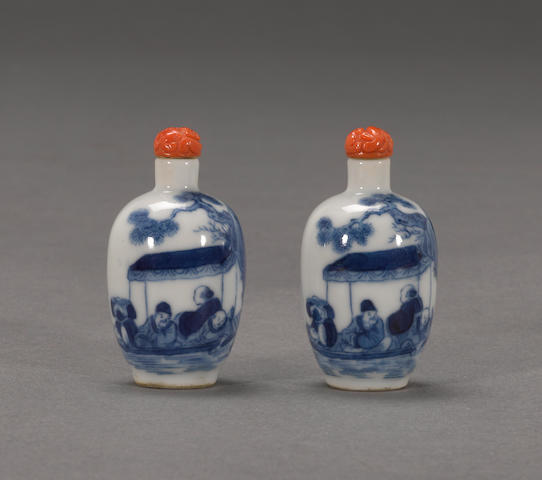 A pair of blue and white porcelain snuff bottles Guangxu marks